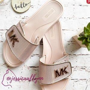 Michael Kors   MK logo mesh slides sandals 9 pink